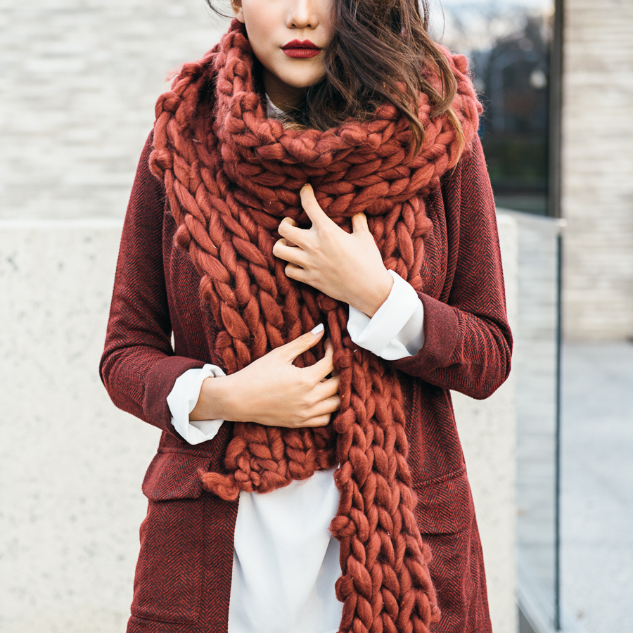 Chic Cold Weather Accessories - Red Chunky Knit Scarf // Notjessfashion.com