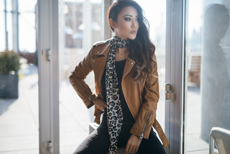 leopard, camel, leather jacket