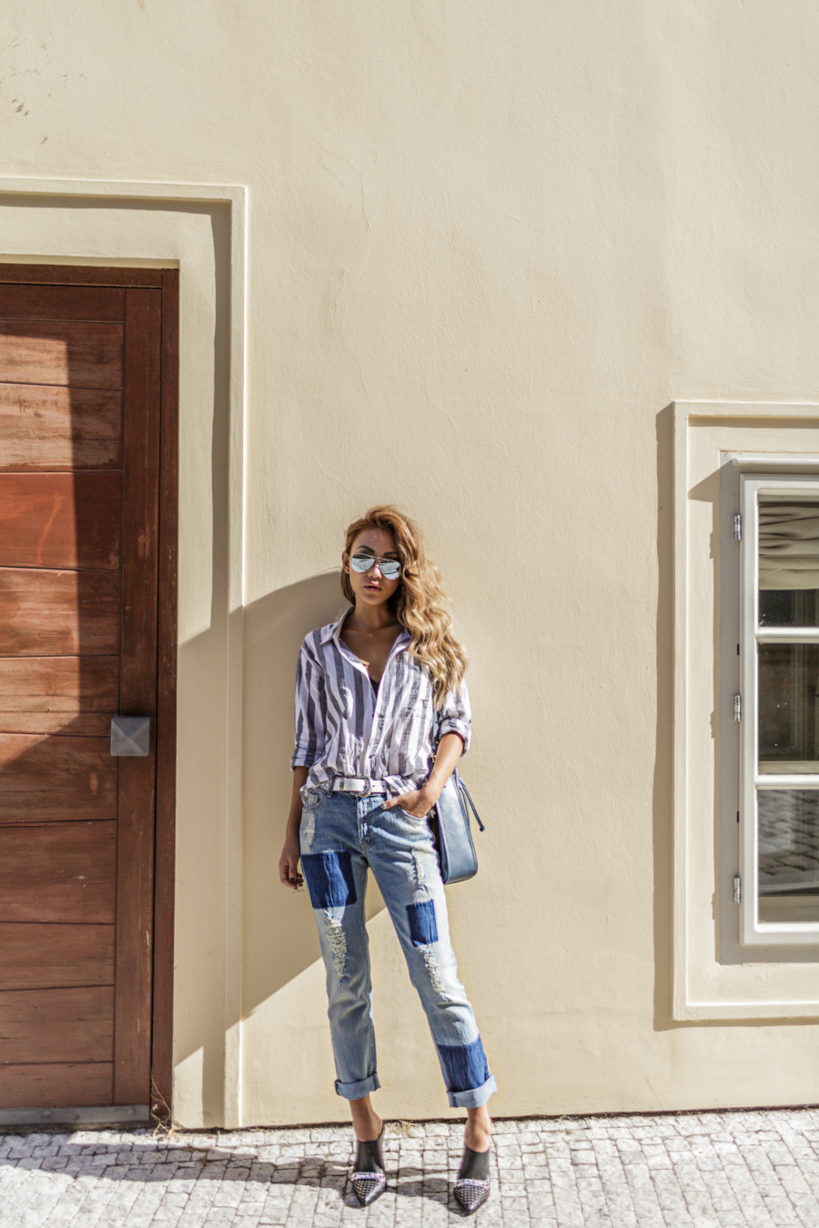 Stripe shirts and patch work denim - Off Duty Style Outfits Cool Girls Swear By // NotJessFashion.com