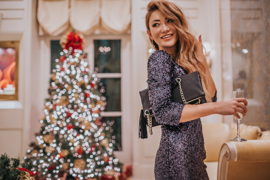 HOLIDAY GIFTS FOR THE WORKING GIRL, Sequin V-neck mini party dress // notjessfashion.com