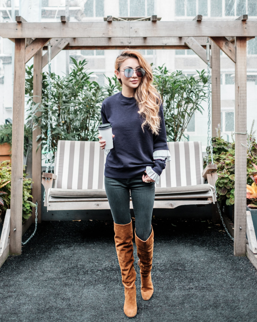 THIGHHIGH BOOTS - Tips for Styling Thigh High Boots - OTK Over the Knee Boots Winter Outfits // NotJessFashion.com