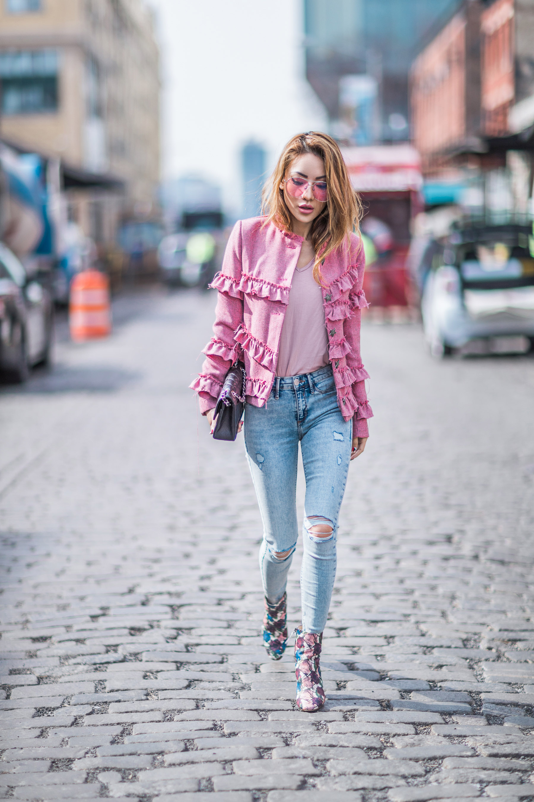 3 Ways to Style Jeans for a Casual Date Night - pink ruffle jacket, embroidered booties // Notjessfashion.com
