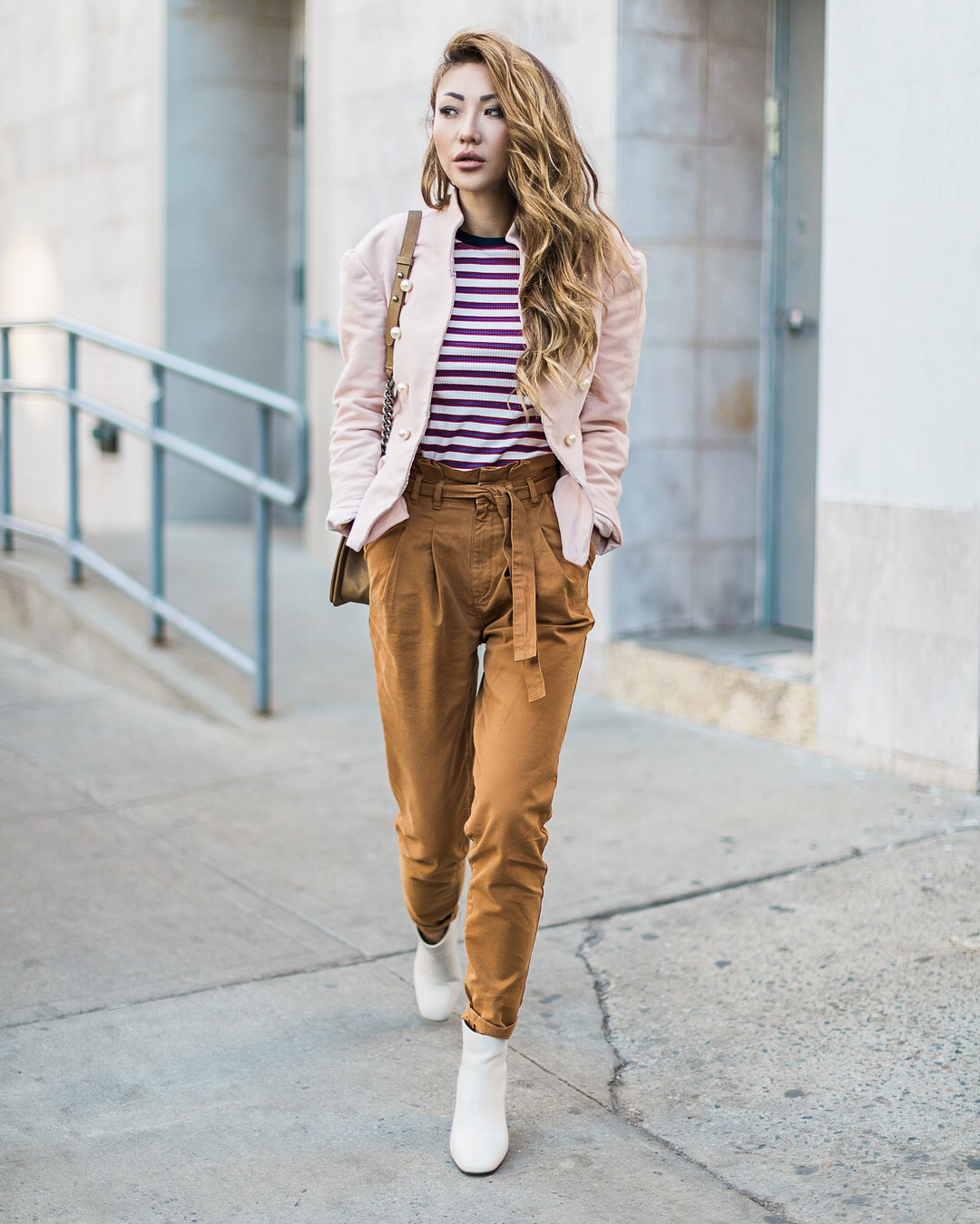 Thanksgiving Outfit Ideas - Brown Trousers with White Boots // NotJessFashion.com