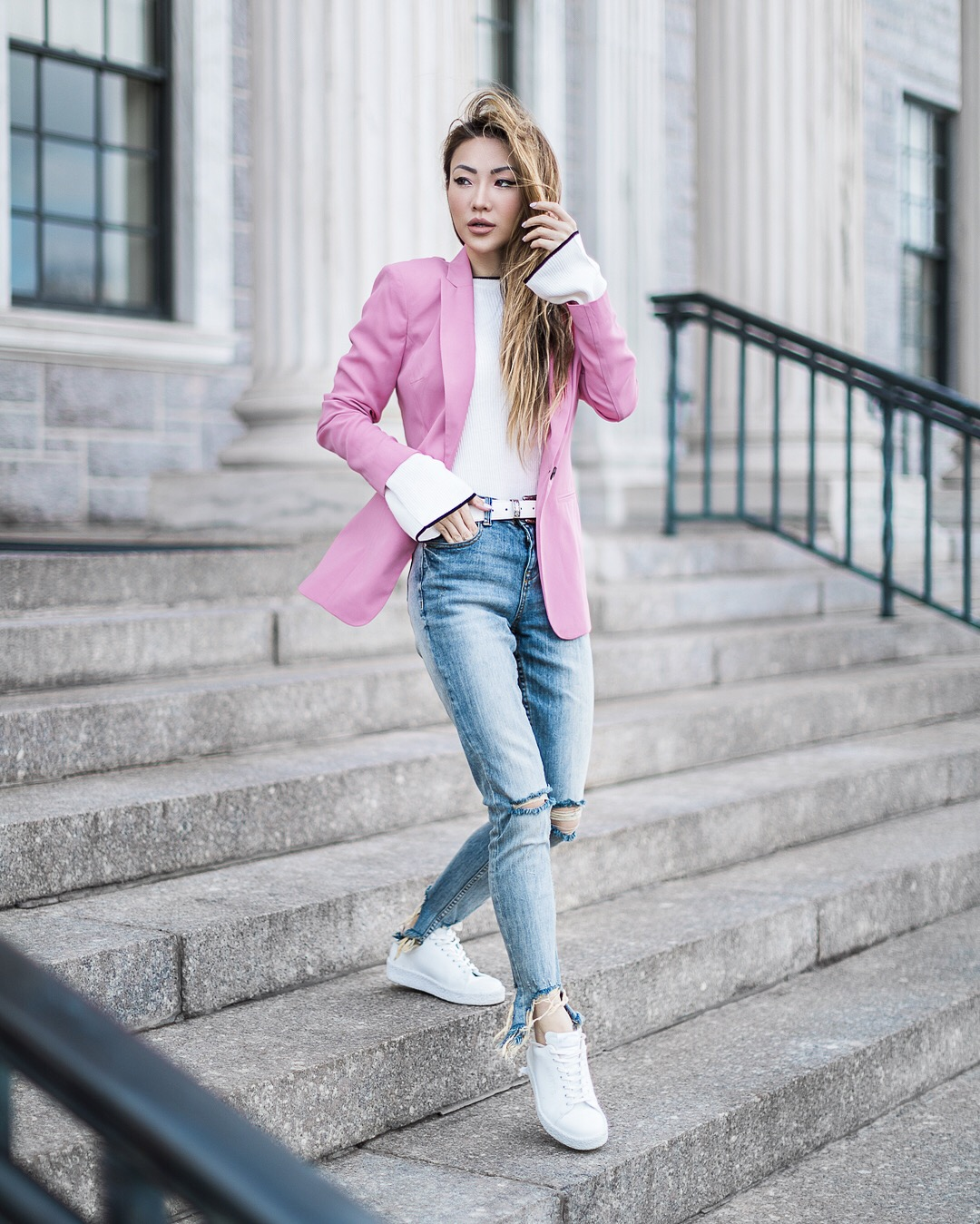 Thanksgiving Outfit Ideas - Pink Blazer with Denim // NotJessFashion.com