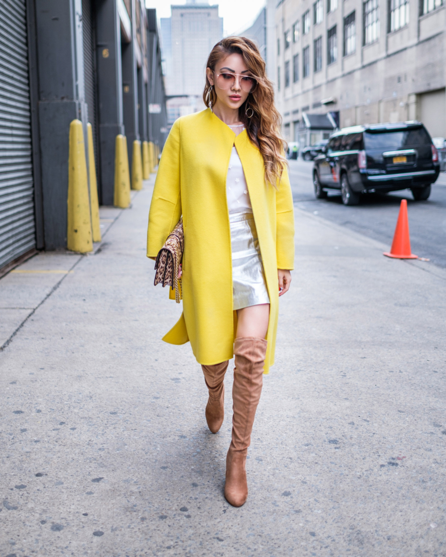 THIGHHIGH BOOTS - Tips for Styling Thigh High Boots - Pinko Yellow Collarless Coat & Steve Madden OTK Boots // NotJessFashion.com