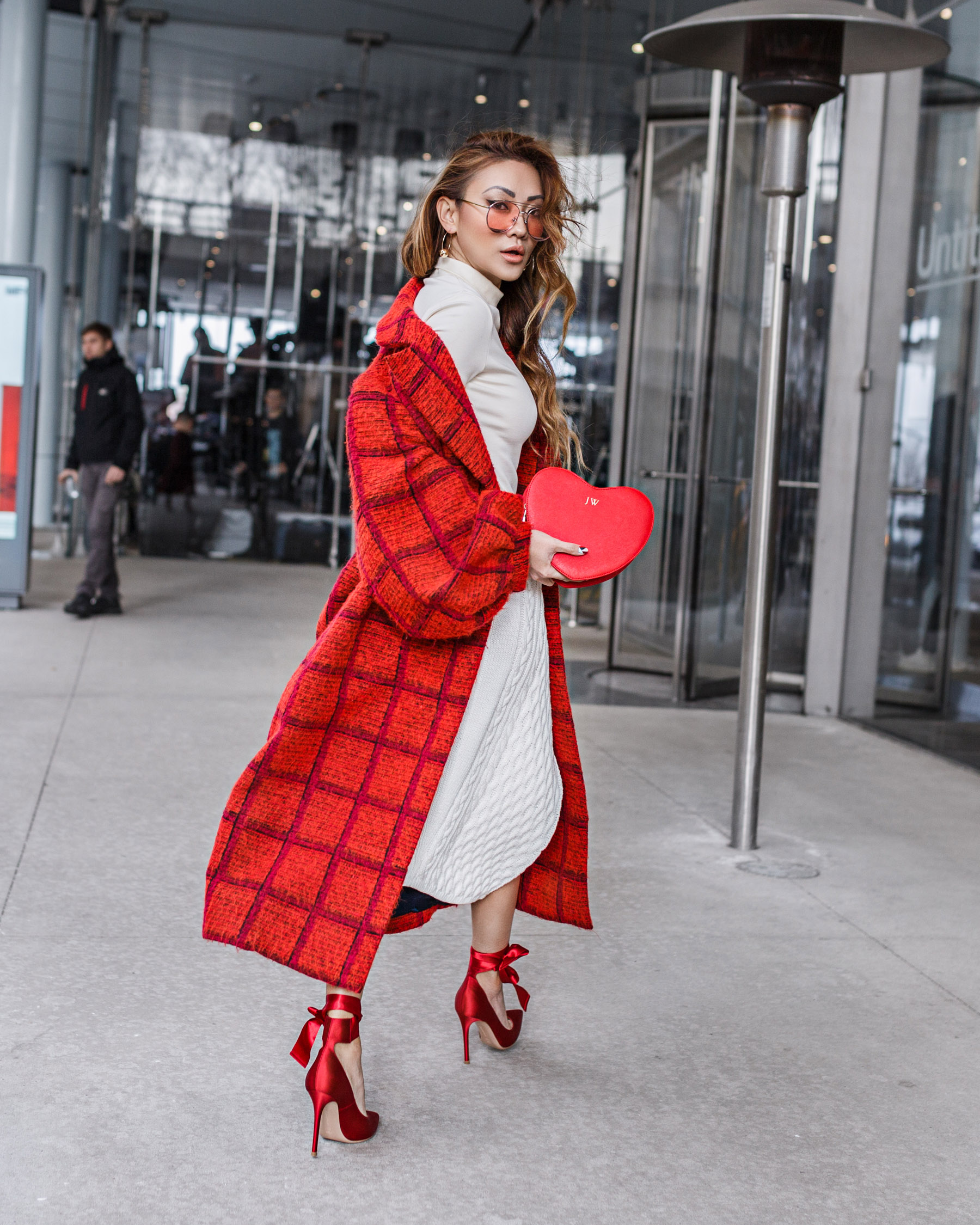 Karen Walker Long Plaid Coat Gianvito Rossi Red Ribbon Heels Valentines Look // NotJessFashion.com