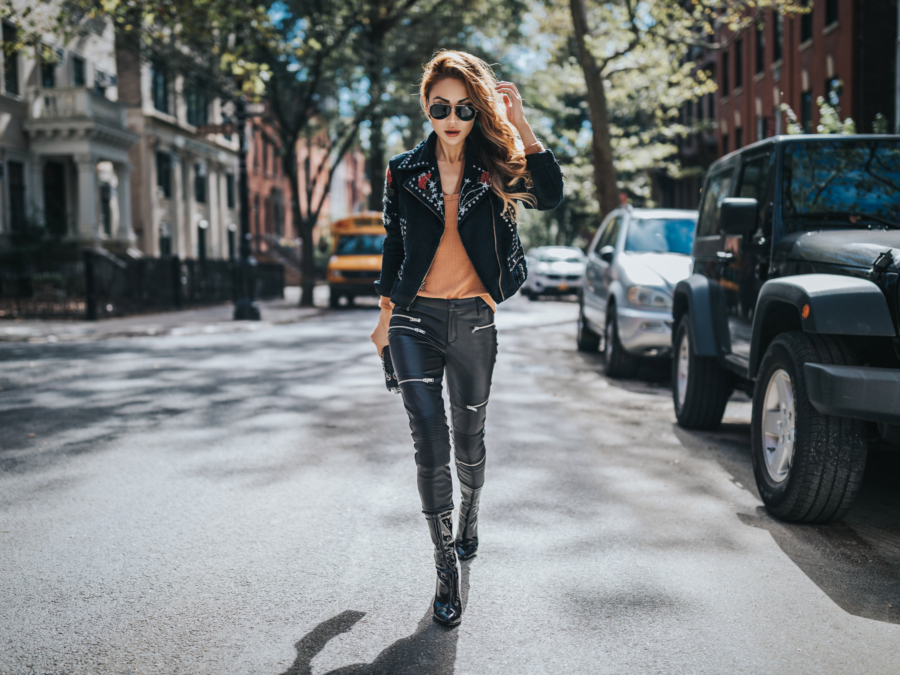 Spring 2019 capsule wardrobe - moto jacket, leather jacket outfit // Notjessfashion.com