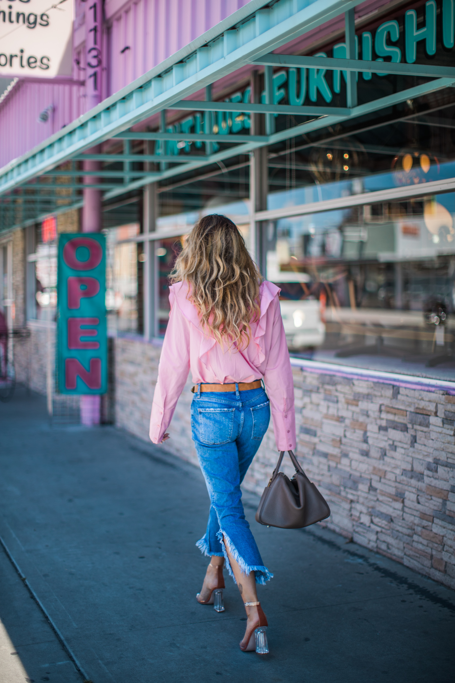 Guide to Wearing Color For Spring - pink lavender outfit, pink ruffle blouse, spring 2018 colors // NotJessFashion.com