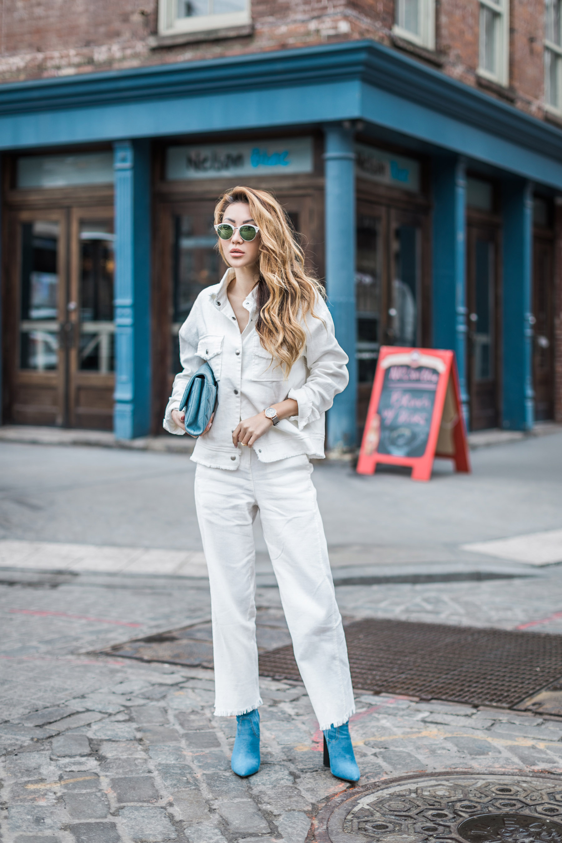All White Outfit with Cluse La Roche Petite Rose Gold Dalmatian/Grey // NotJessFashion.com