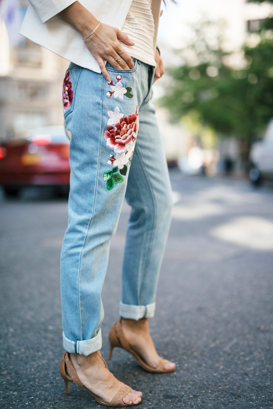 Floral Embroidered Denim Jeans - 7 Pieces That Look Adorable With Flower Embroidery // Notjessfashion.com