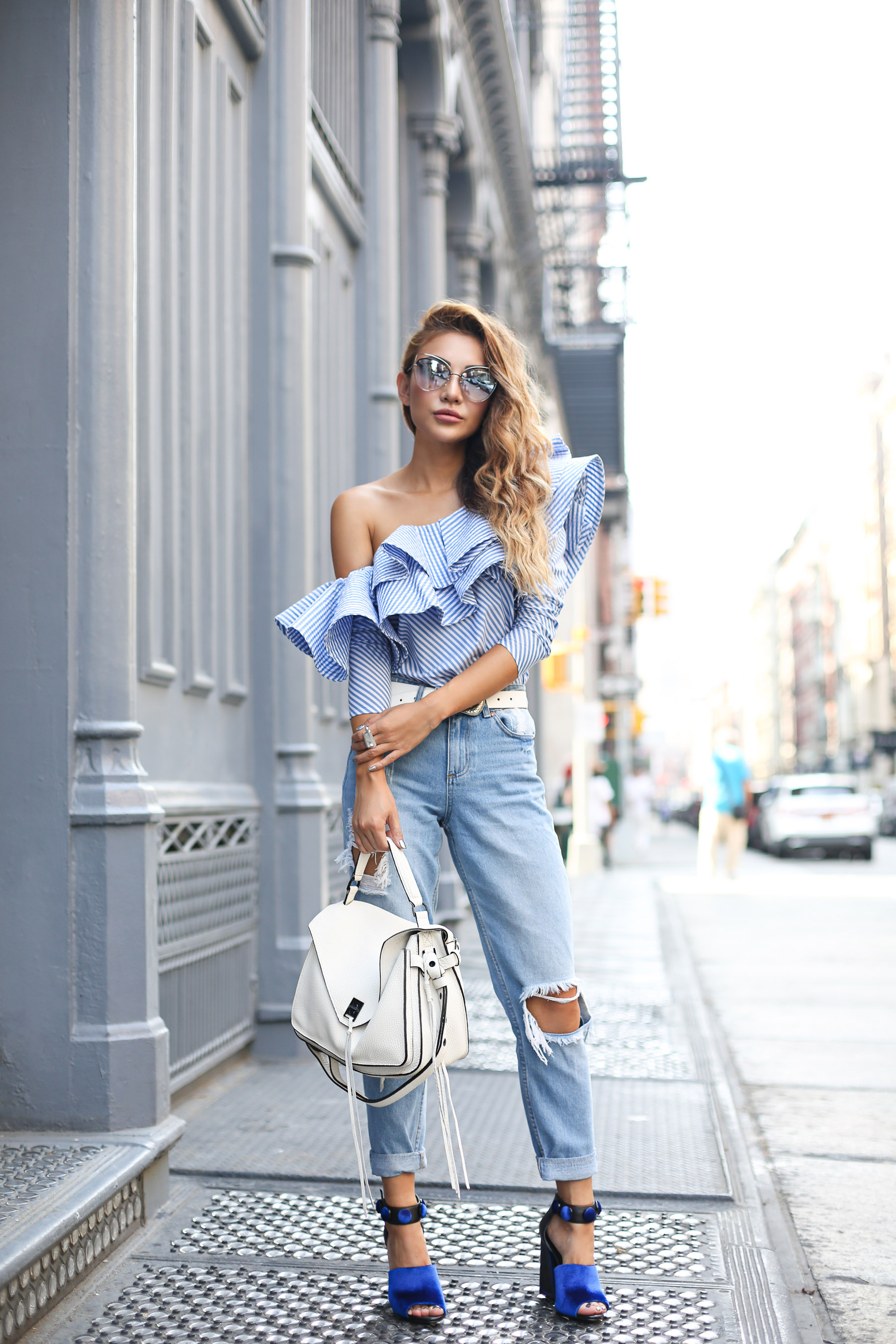 Johanna Oritiz off-shoulder top - 8 Denim Styles That Will Be Trending For Spring // Notjessfashion.com