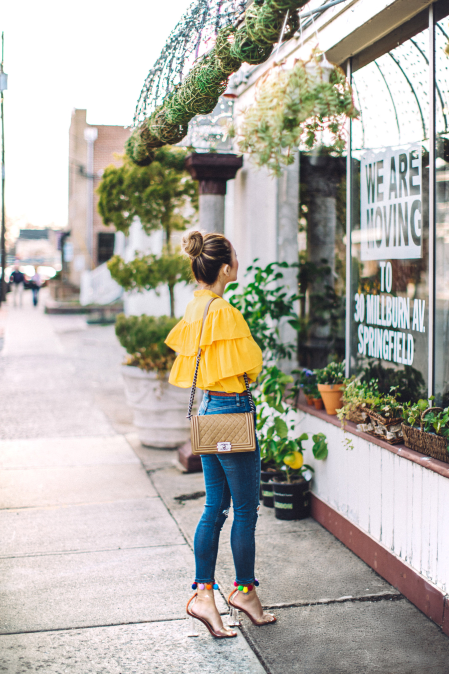 Preconceptions to Throw Away and Live Life at Your Own Pace // yellow ruffle top, pom pom jeans // Notjessfashion.com