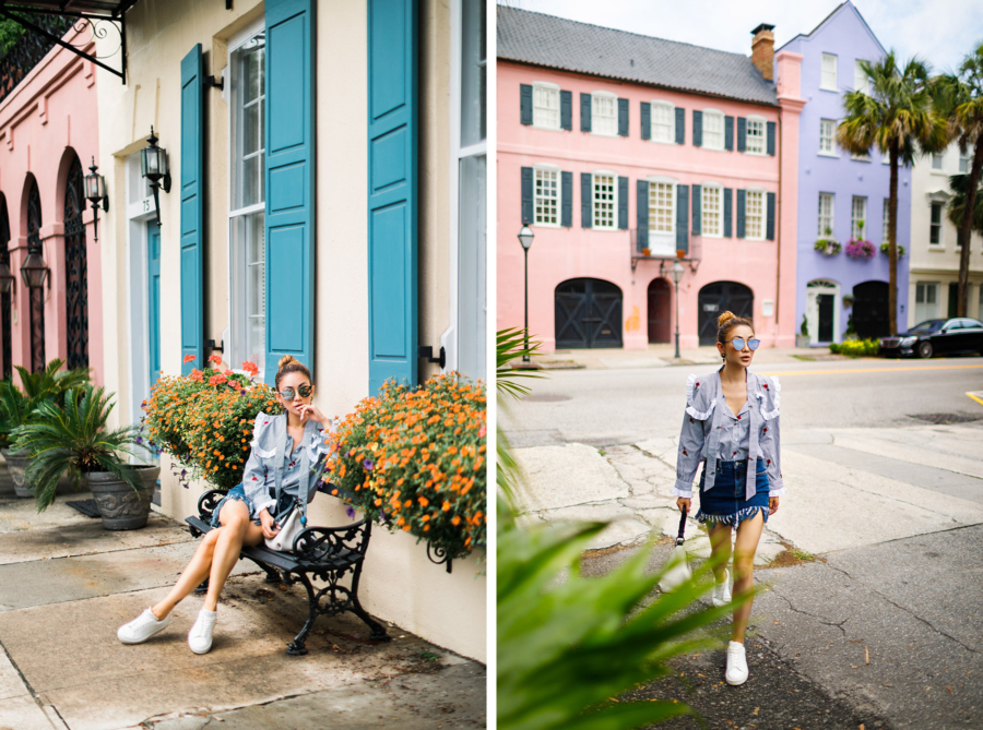 Floral Embroidered Stripe Blouse and Shorts - Travel Guide: 36 hours in Charleston, SC // NotJessFashion.com