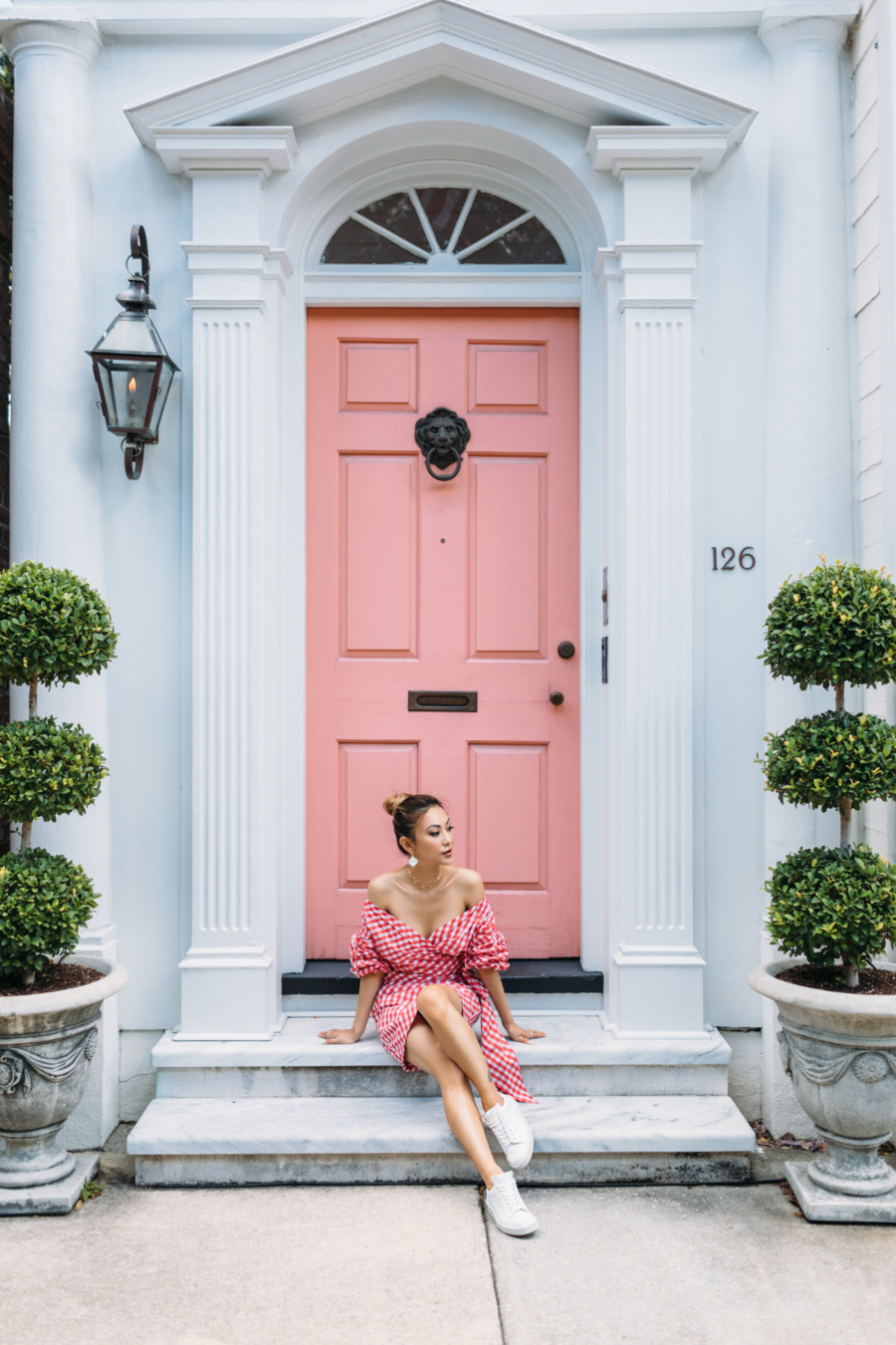 Charleston Pink Door and Red Gingham - Travel Guide: 36 hours in Charleston, SC // NotJessFashion.com