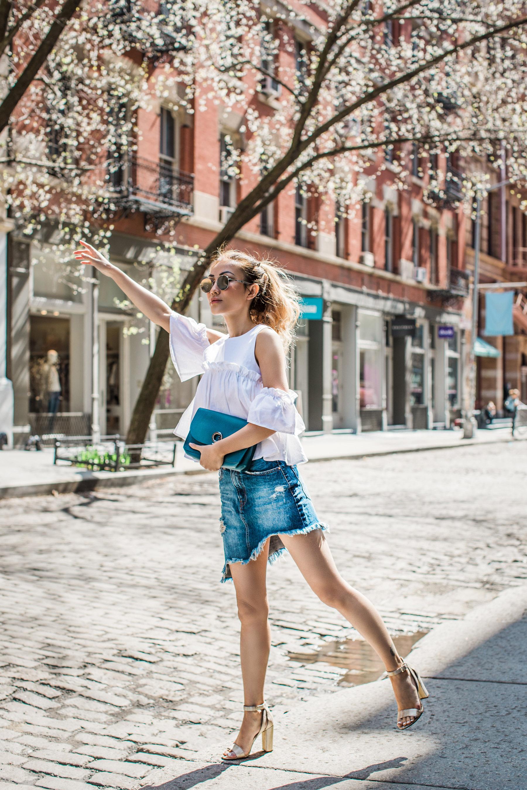 How to Start a Blog From Scratch - Jessica Wang wearing a denim mini skirt // Notjessfashion.com