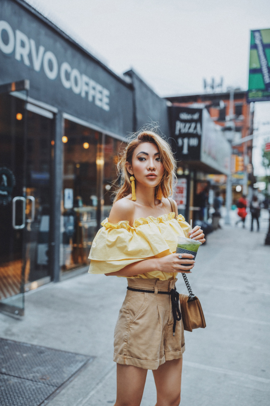 Yellow Ruffle Top and Beaded Earrings - The Garment District Comes to Life Again // Notjessfashion.com