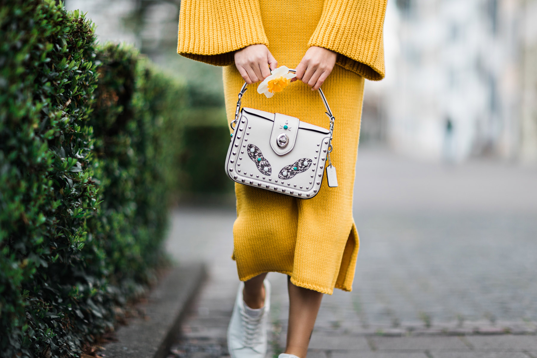 Yellow Sweater Dress with Trumpet Sleeves // Notjessfashion.com