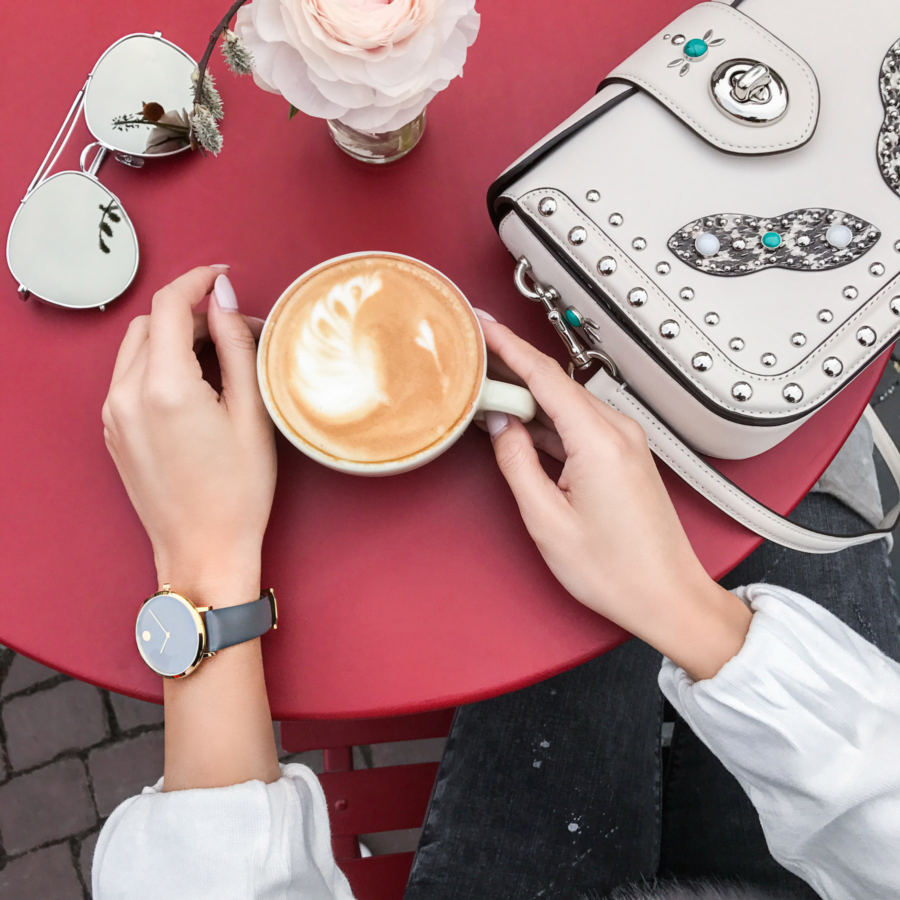 Movado Grey Leather Band Watch and Coffee - Design Genius and the Dot that Changed the Face of Time, Movado // Notjessfashion.com