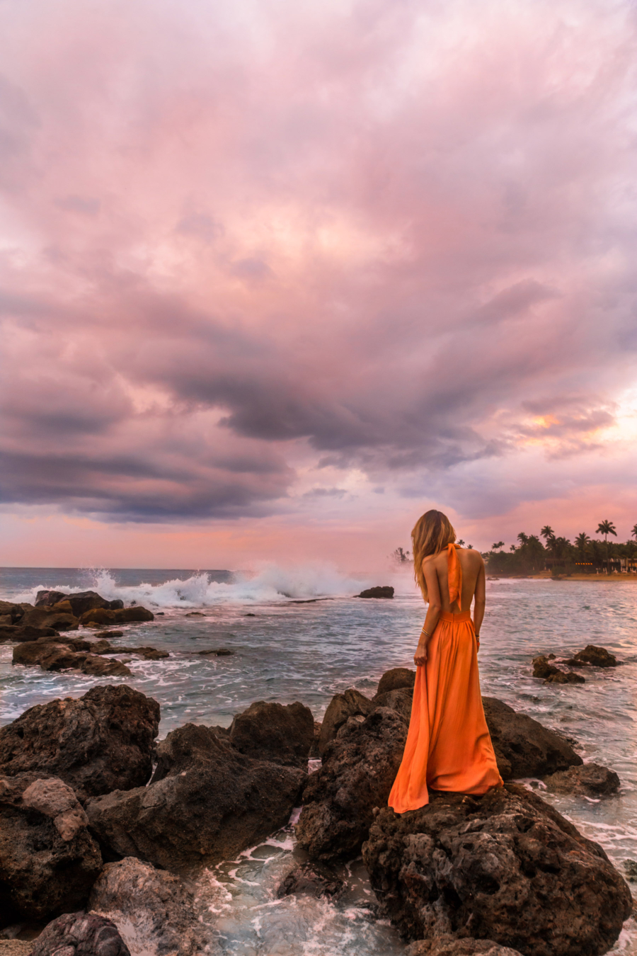 Orange Dress Sunset Dorado Beach - Discover Puerto Rico's Best Kept Secret // NotJessFashion.com