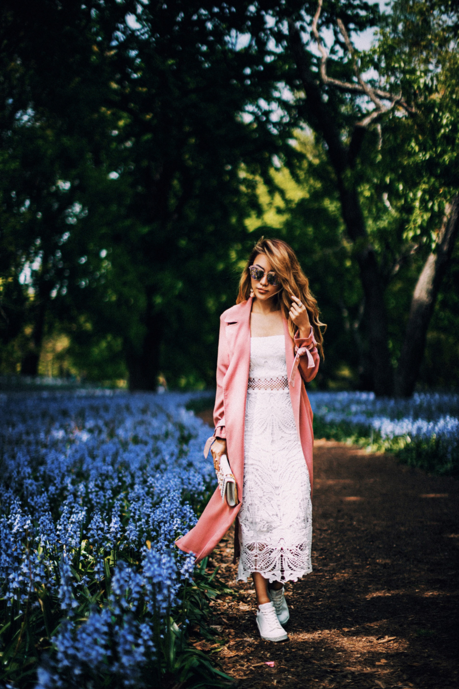 River Island Pink Trench White Dress - 9 Fresh Ways To Style Your Favorite Trench Coat For Any Occasion This Spring // NotJessFashion.com