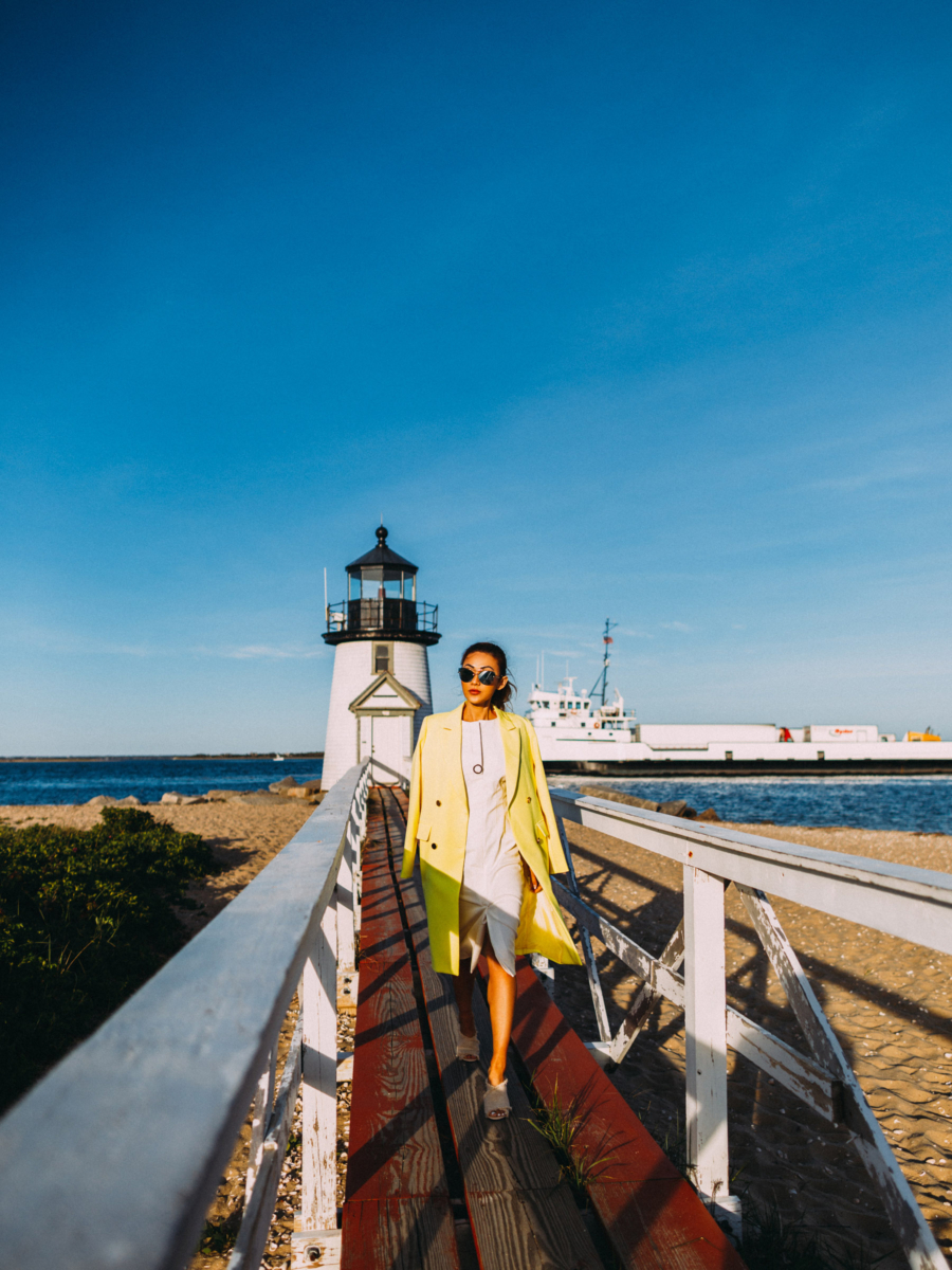 Nantucket Yellow Cape and White Dress - Hottest Sunglasses Trends This Summer: Nantucket Edition // Notjessfashion.com