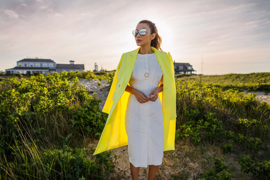Yellow Cape and White Dress in Nantucket - Hottest Sunglasses Trends This Summer: Nantucket Edition // Notjessfashion.com