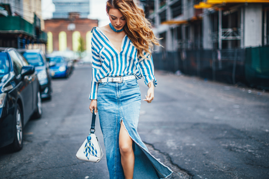 5 Things I Wish I Knew Before Starting a Blog - denim maxi skirt, slit maxi skirt, casual summer outfit, blue stripe button up // Notjessfashion.com