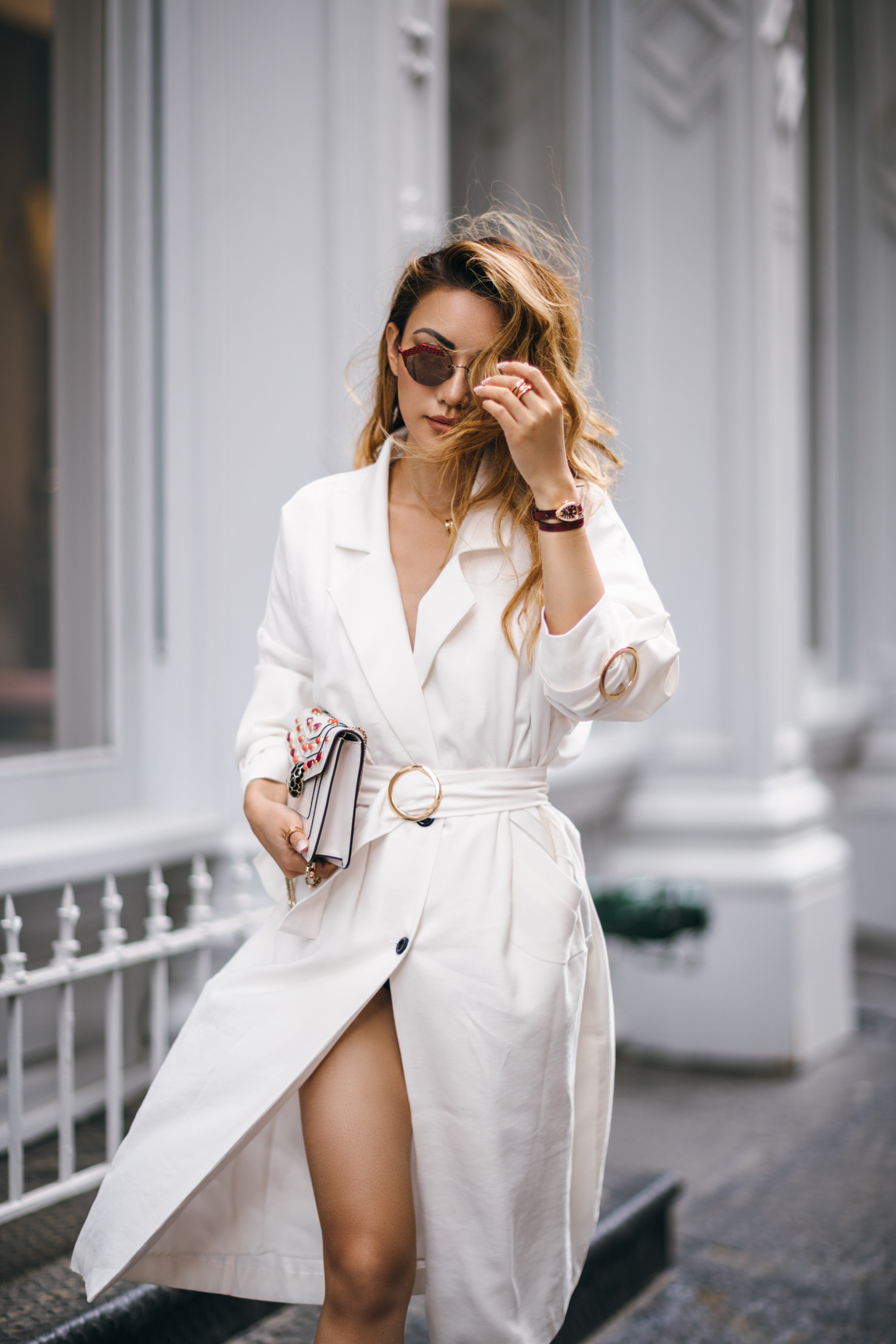 7 Posing Tips for Bloggers - white wrap dress, white trench dress // Notjessfashion.com