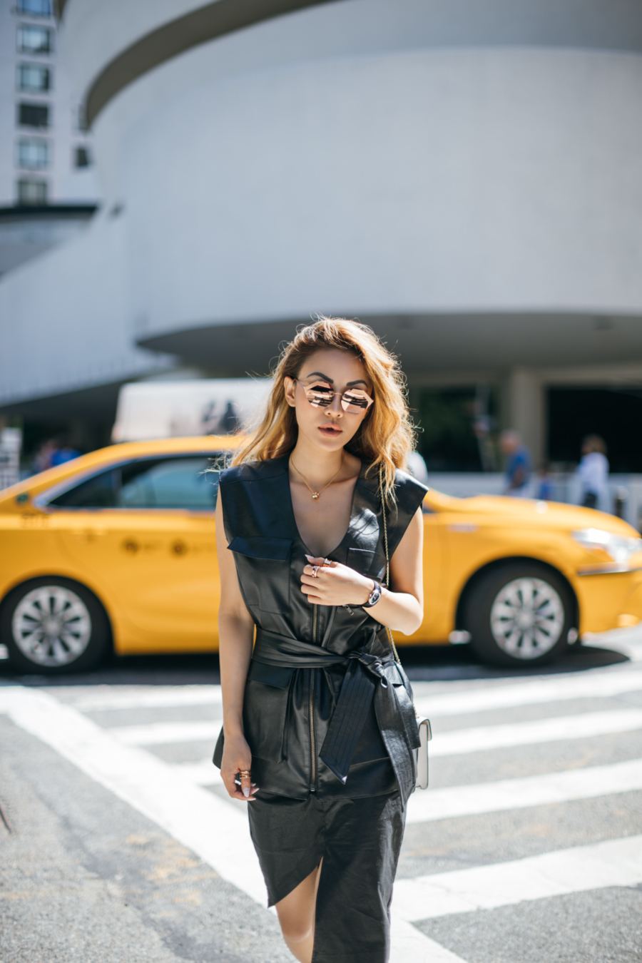 Fashion blogger Notjessfashion shows you how to dress like a fashion icon wearing a leather dress // Notjessfashion.com