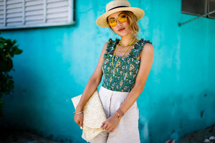 Green Floral Top with Straw Hat and Clutch - Free-Spirited Accessories to Compliment Your Summer Style // NotJessFashion.com