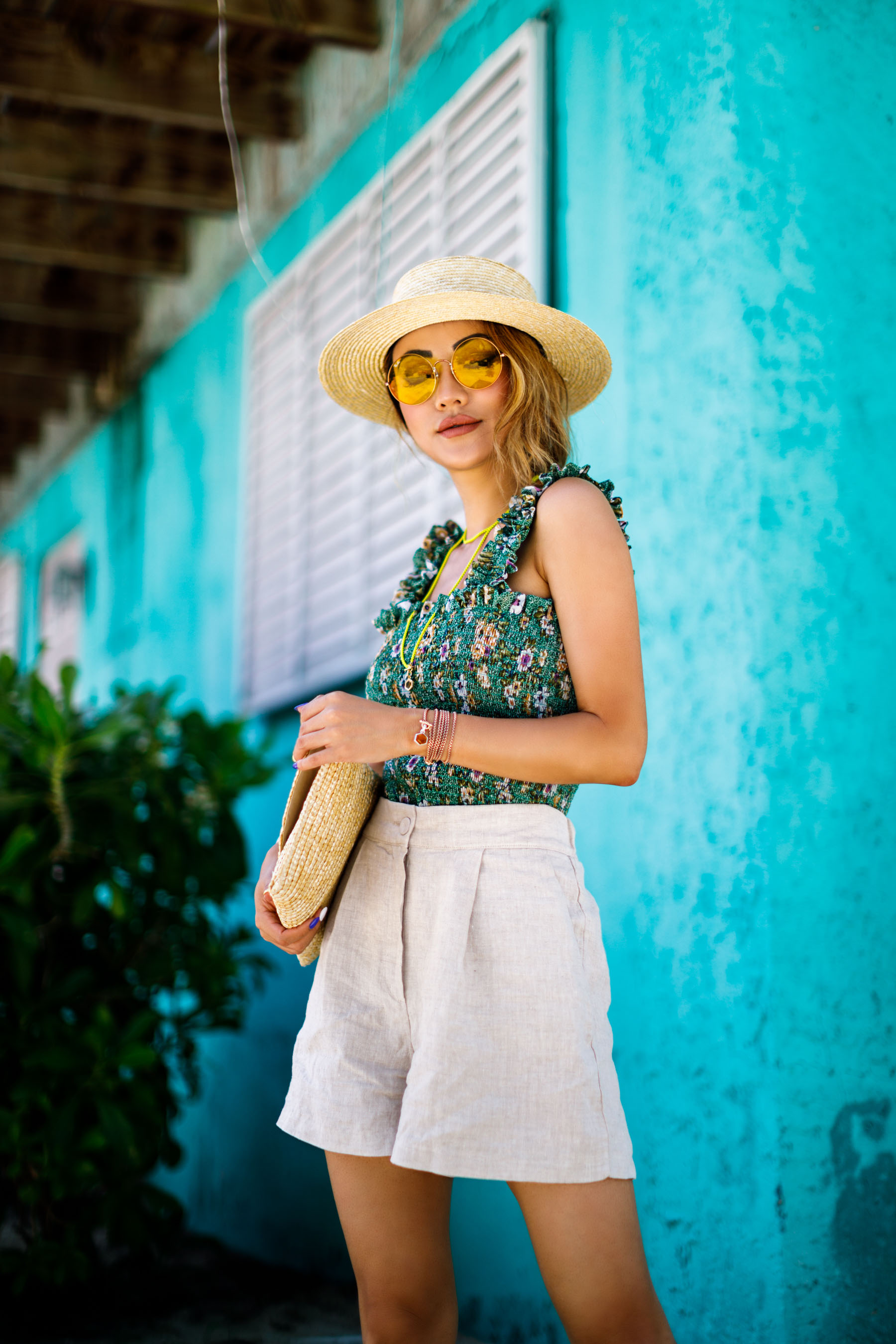 trending Prints to Wear in 2018 - Floral Green Top and linen shorts // NotJessFashion.com