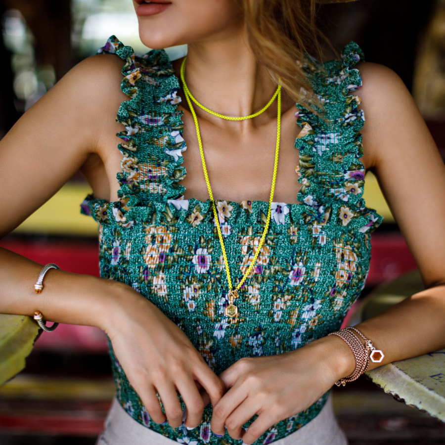 Green Floral Top DY Bel Aire Necklace - Free-Spirited Accessories to Compliment Your Summer Style // NotJessFashion.com
