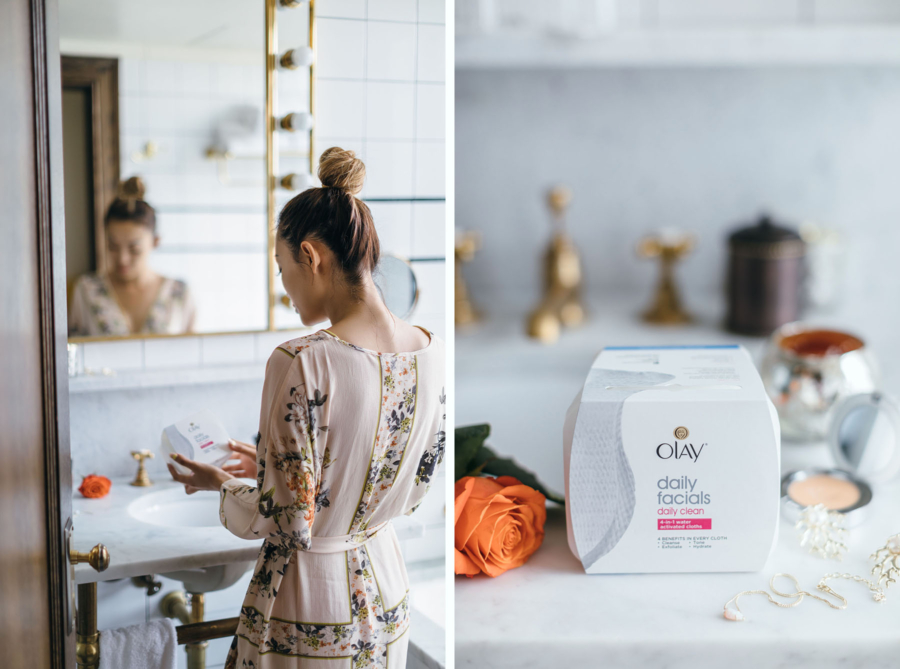 Using Olay Daily Facials Daily 4-in-1 Cleansing Cloth - How To Remove Your Makeup The Right Way // NotJessFashion.com