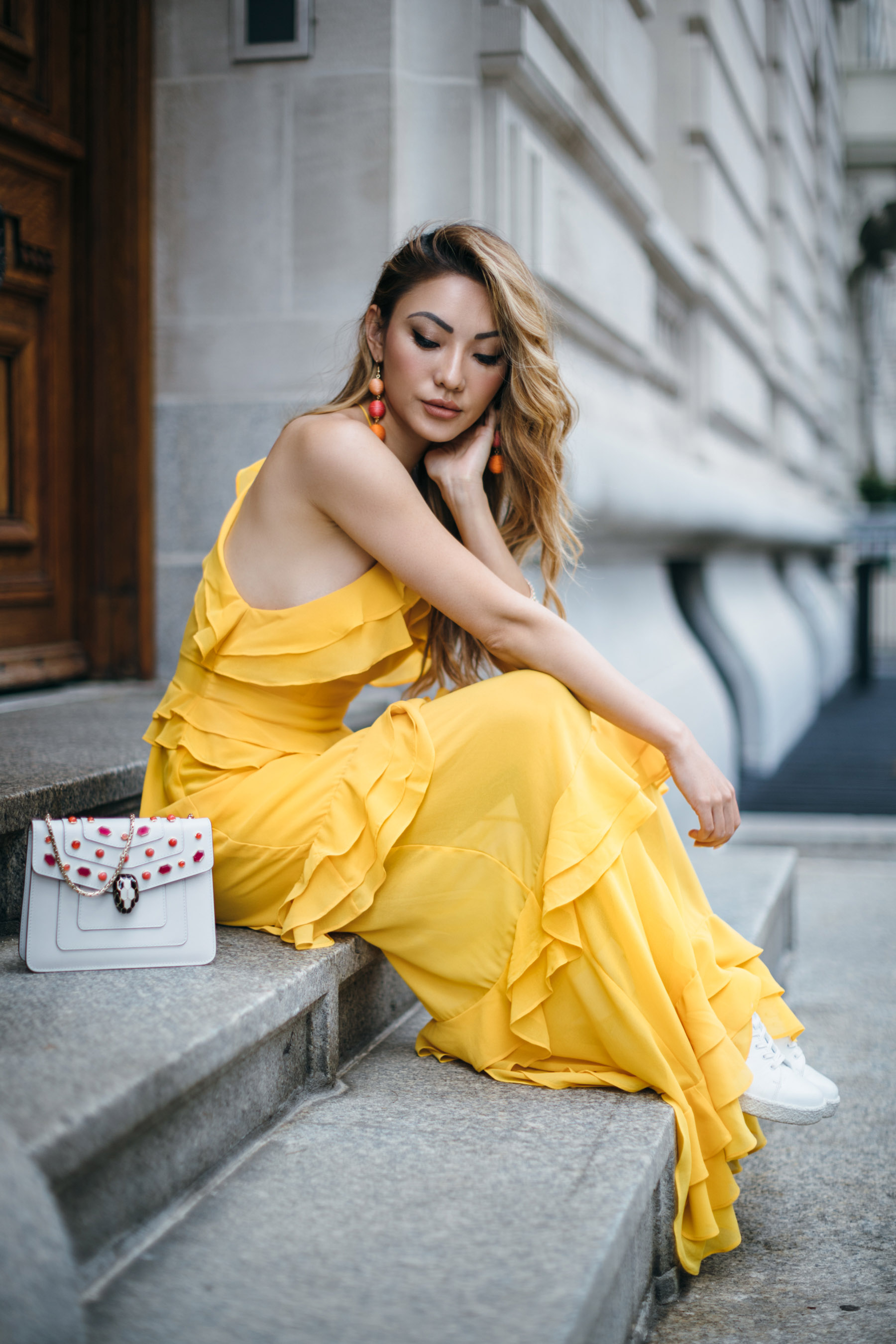 7 Posing Tips for Bloggers - yellow ruffle dress // Notjessfashion.com