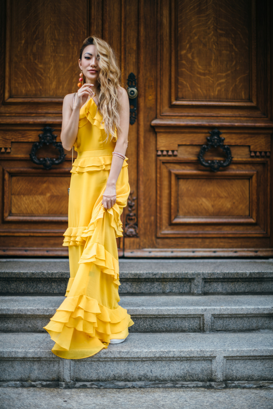 Tiered Ruffle Yellow Dress = 8 Pieces To Achieve The Modern Romantic Look // NotJessFashion.com
