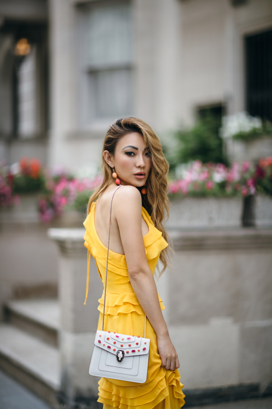 The Best Korean Anti-Aging Skincare Products // yellow maxi dress, ruffle maxi dress, summer dress // Notjessfashion.com