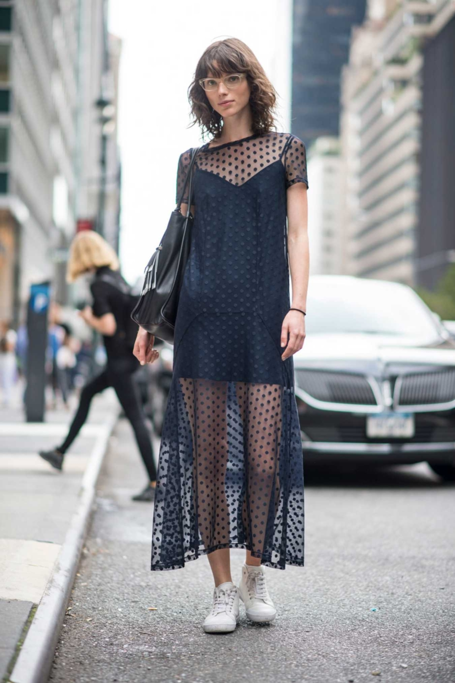 Sneakers with sheer dress - Off Duty Style Outfits Cool Girls Swear By // NotJessFashion.com