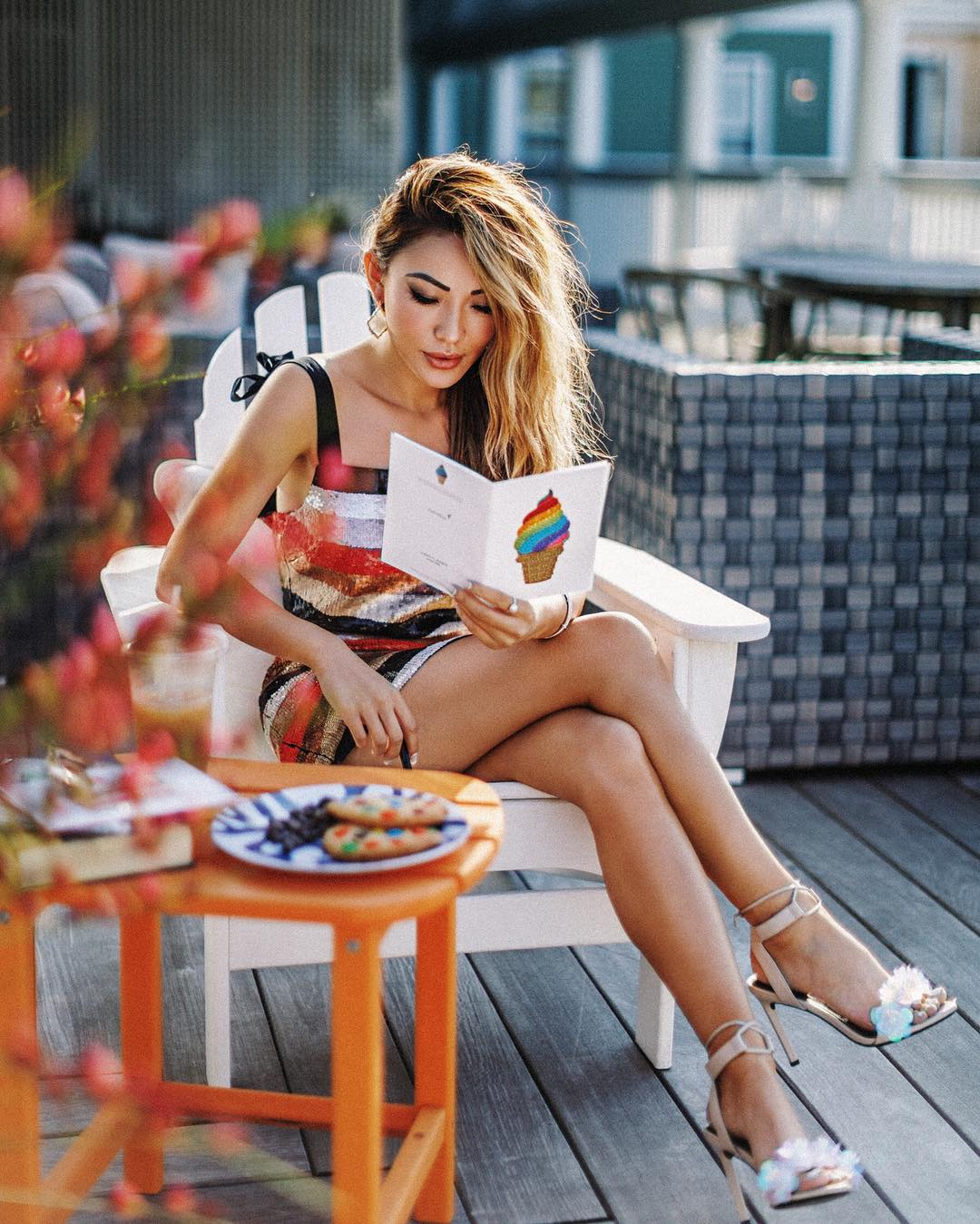 The Best Apps to Optimize Your Blog and Business - summer rooftop outfit, sequin dress, strappy sandals // Notjessfashion.com