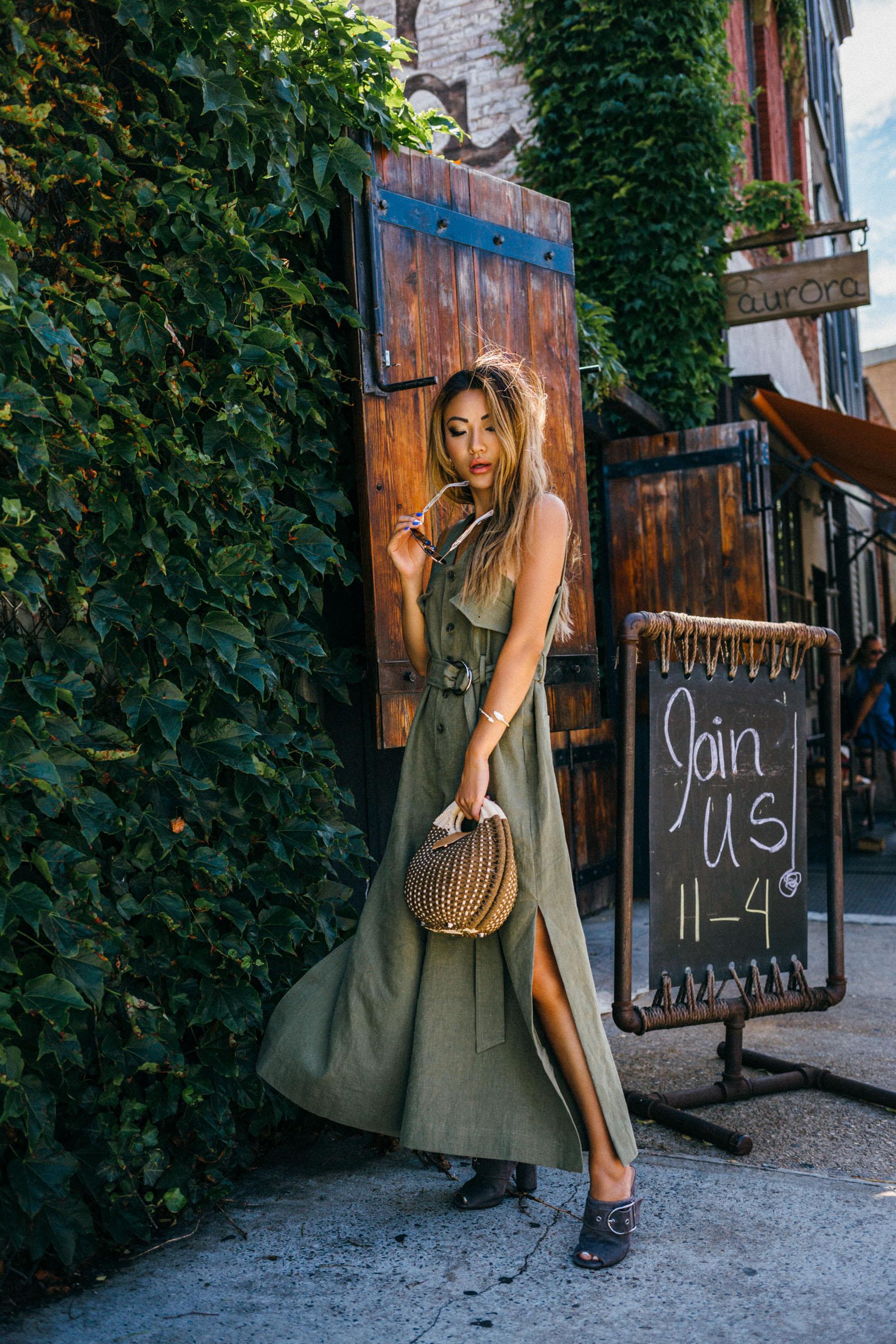 Easy Ways to toughen up a feminine wardrobe - Style Nanda Jumpsuit, Khaki Green Jumpsuit // NotJessFashion.com