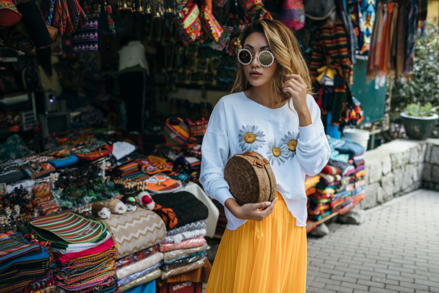 Browsing in Aguas Calientes Markets - New Sunglasses Shapes That Are Fun and Luxe // NotJessFashion.com