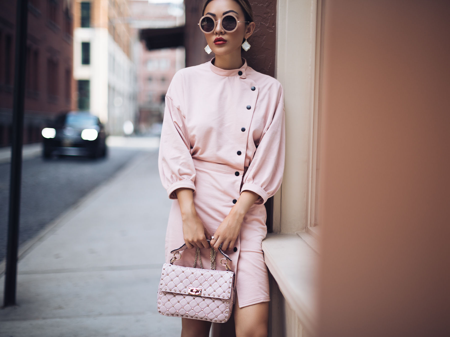 Monochromatic Winter Looks - Blush Pink Monochrome Street Style // NotJessFashion.com