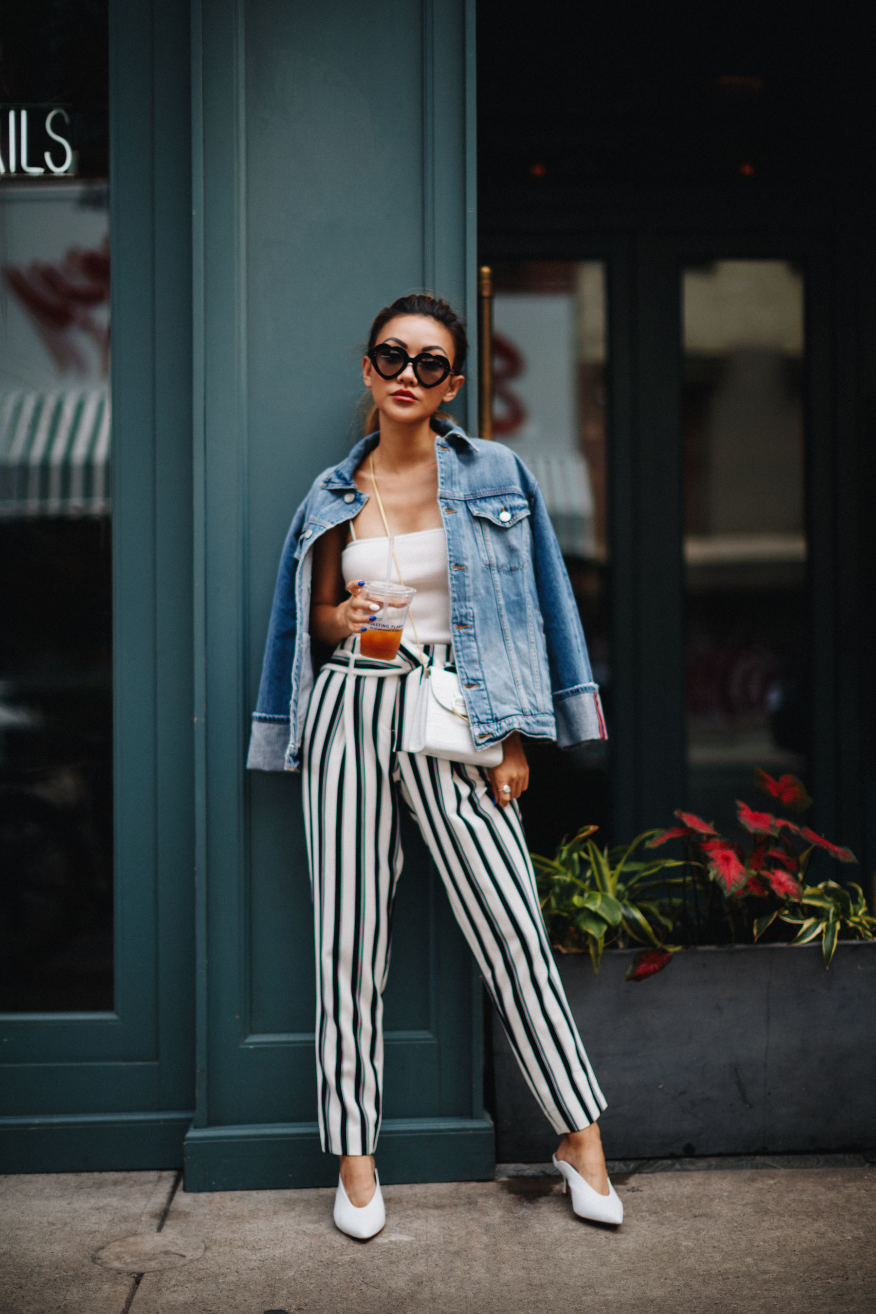 Trending Prints to Wear in 2018 - denim jacket with stripe palazzo pants // Notjessfashion.com