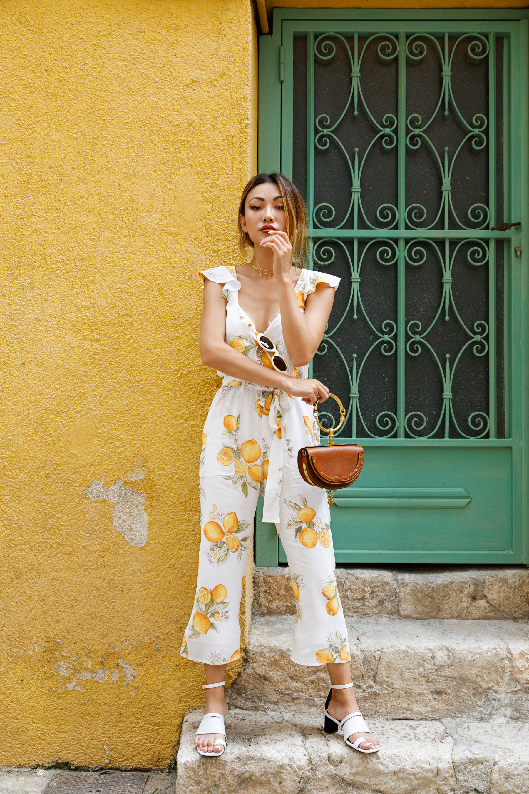 memorial weekend sales, vacation style, for love & lemons lemon printed jumpsuit // Notjessfashion.com