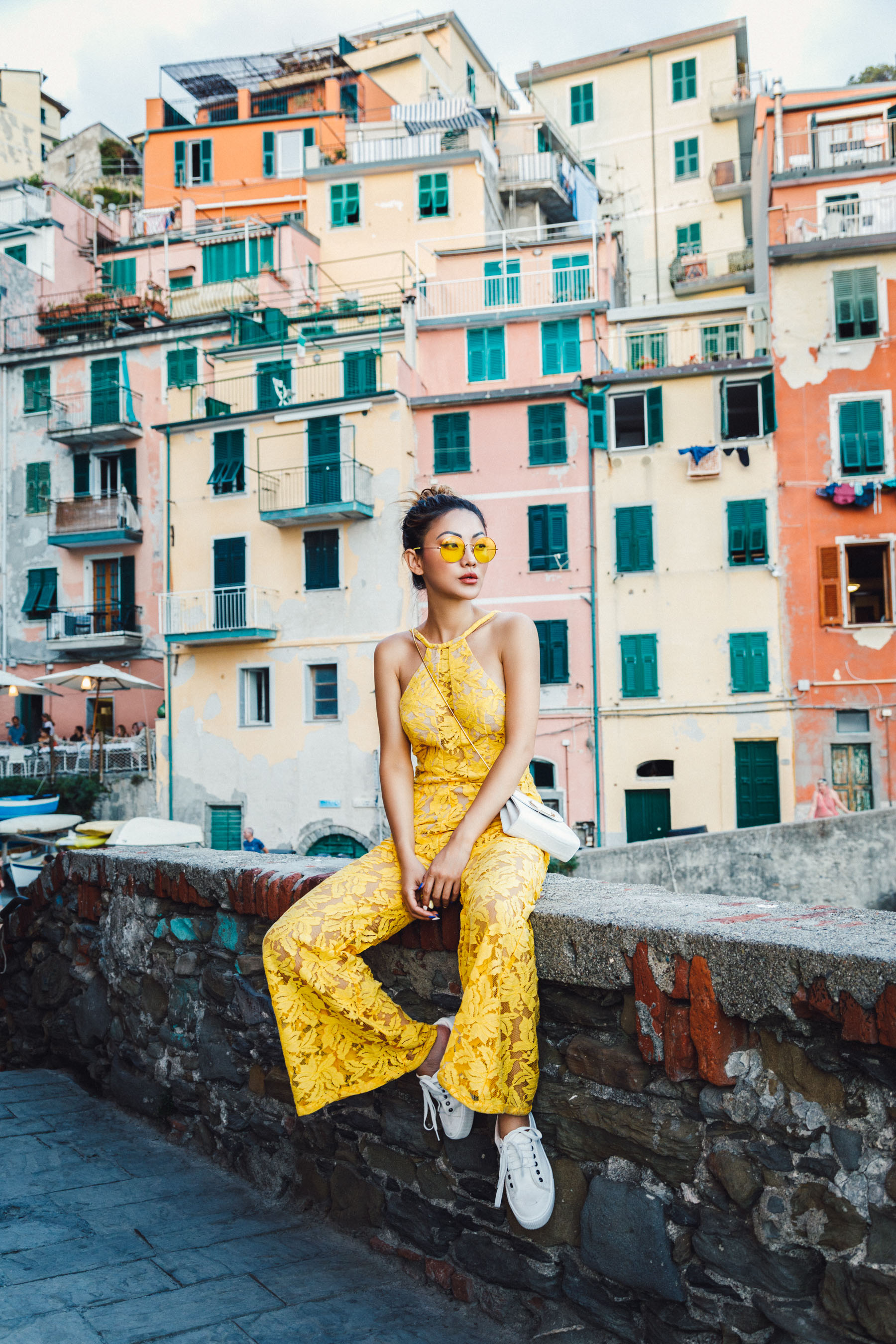 Yellow Jumpsuit - Instagram Outfits Round Up: Cinque Terre Days // NotJessFashion.com