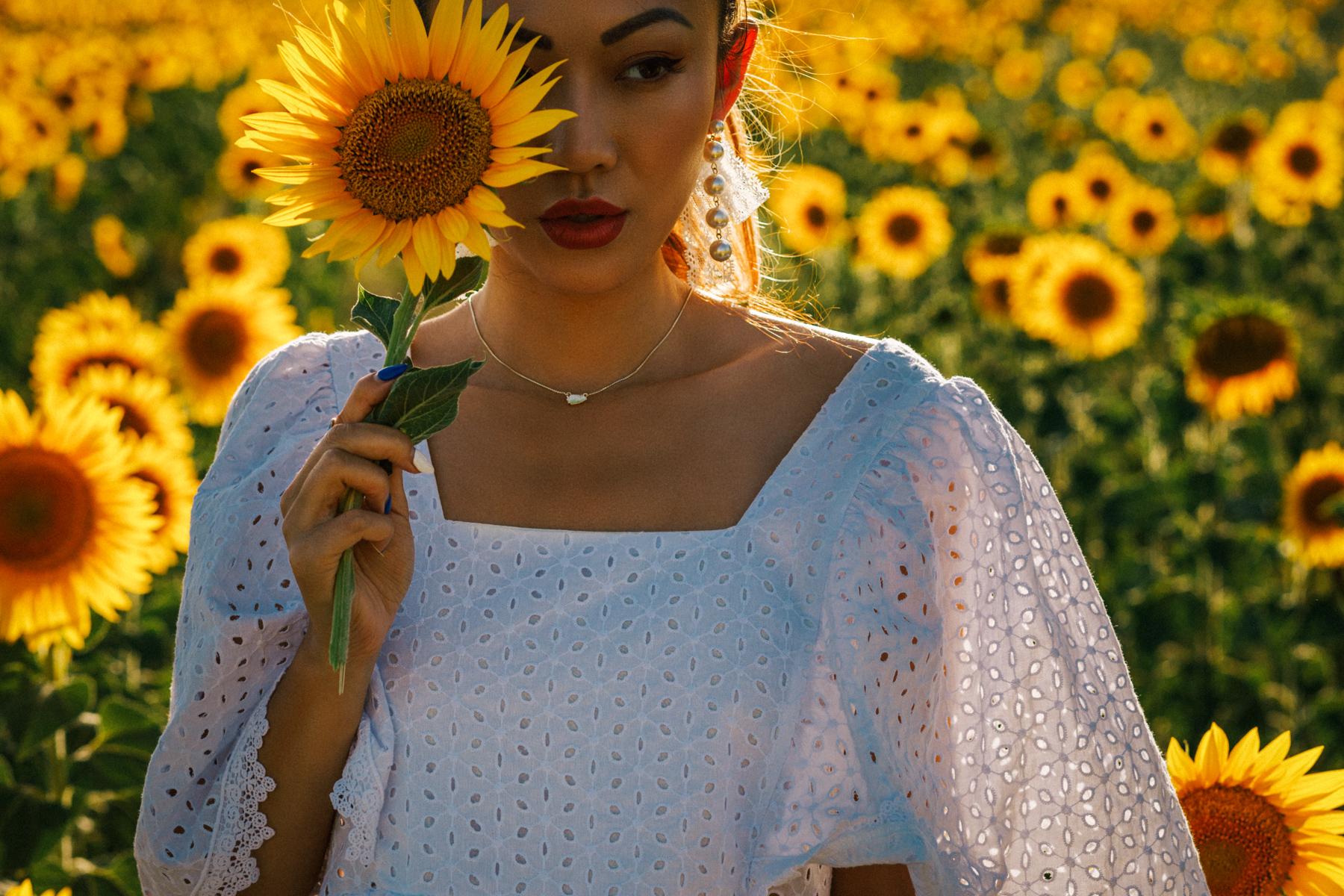 best flower fields of instagram, white eyelet dress, White Dresses For Summer // NotJessFashion.com