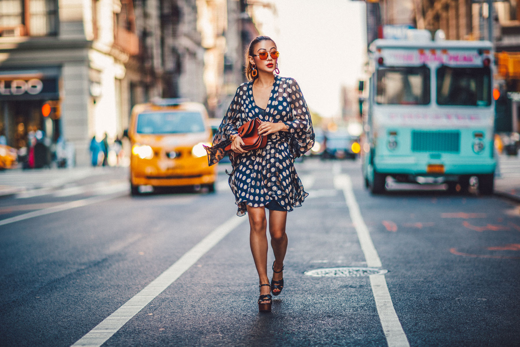 Essential Photography Tips for New Bloggers - Zimmerman dress // NotJessFashion.com // jessica wang, new york fashion blogger, asian blogger, fashion blogger street style, street style fashion, farfetch fashion, polkda dot dress, ysl heels, brown aviators, statement earrings, fashion week style