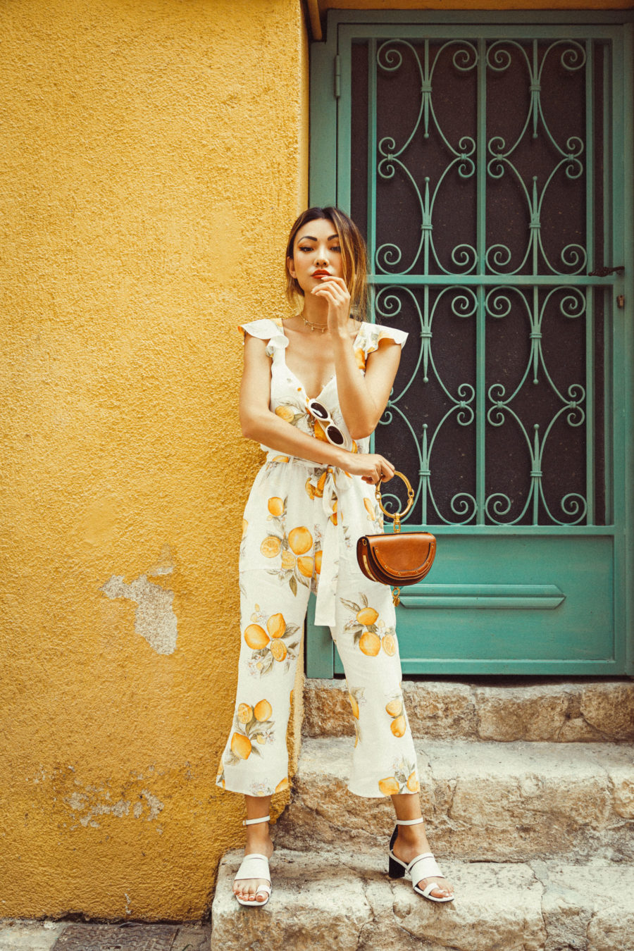For Love and Lemons Jumpsuit and Toe Ring Sandals // NotJessFashion.com