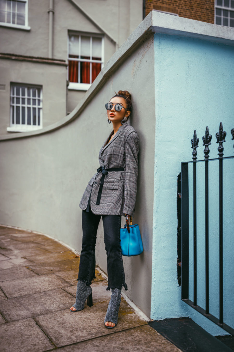 LFW Day 3 Streetstyle plaid blazer // NotJessFashion.com