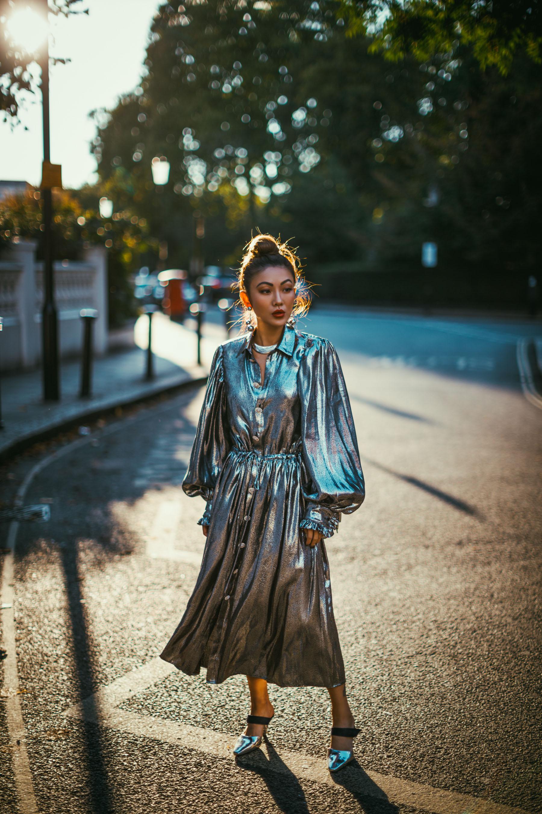 LFW Day 3 Streetstyle metallic dress // NotJessFashion.com