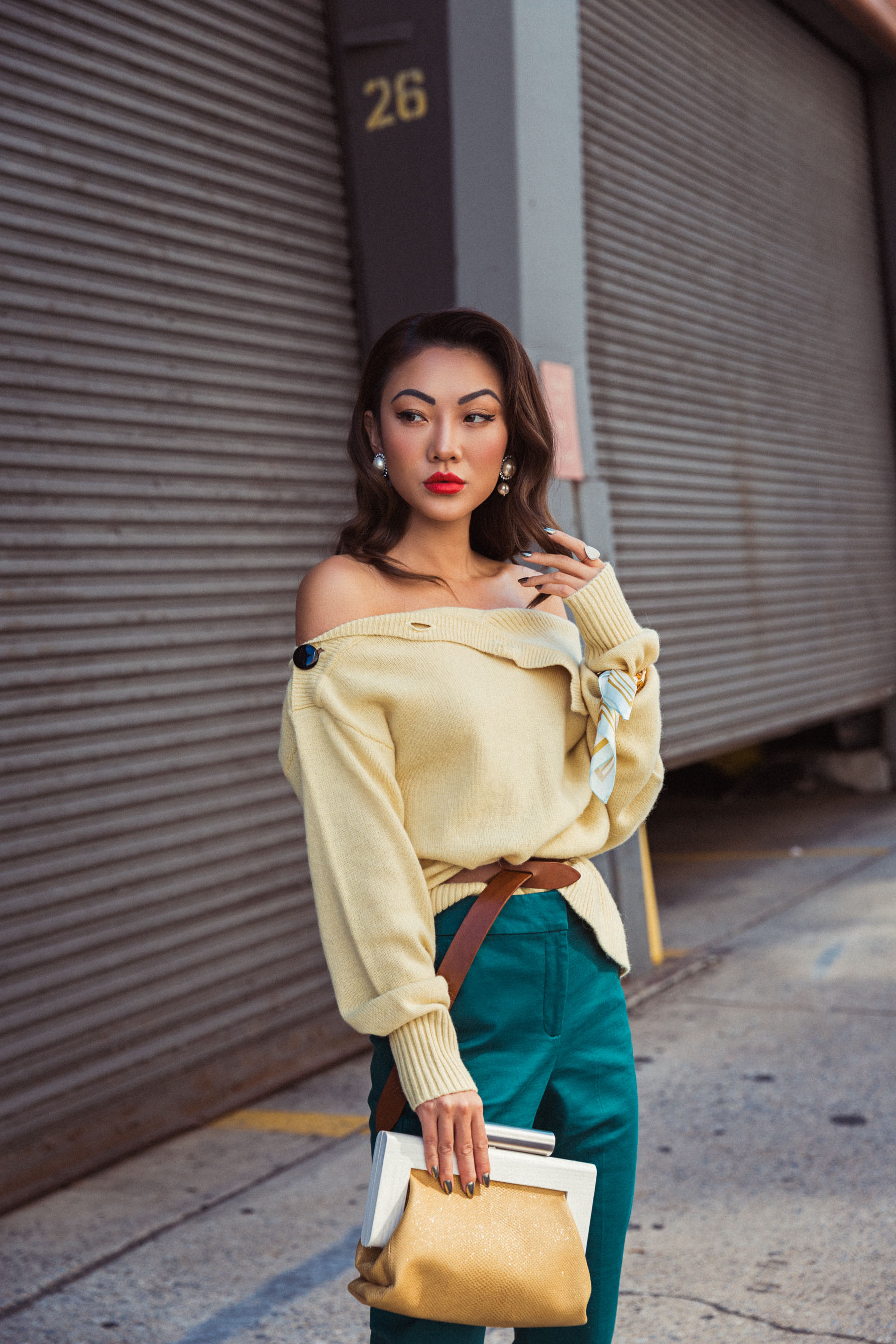 How to Use Fashion Week As A Networking Opportunity // Notjessfashion.com // feather skirt, new york fashion week street style, street style fashion week, nyfw ss18, green trousers, yellow, sweater, fashion week look